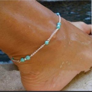 Jewelry - Silver and blue ankle bracelet NEW